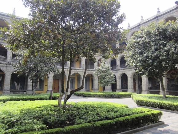 """The interior courtyard of the now """"Antiguo"""" Colegio de San Ildefonso, which currently functions as a cultural center (photo by the author)"""