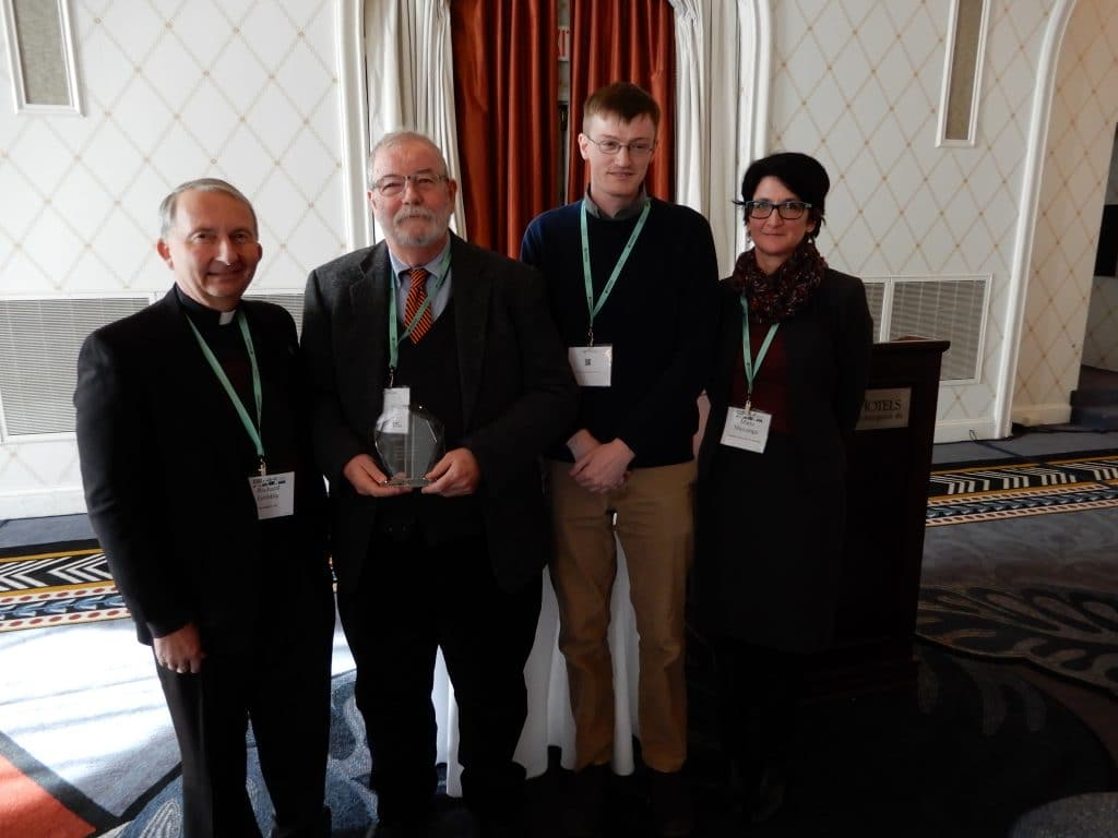 Honoring the award-winners at the 2018 ACHA Annual Meeting in Washington, DC are (from left): Richard Gribble (ACHA), Tim Meagher (ACHRC), Shane MacDonald (ACHRC), Maria Mazzenga (ACHRC).