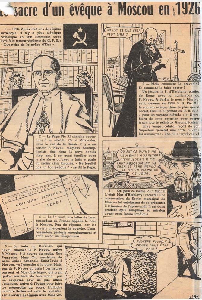 """""""Le sacre d'un évêque à Moscou en 1926,"""" a French-language comic about the start of the Moscow Mission."""