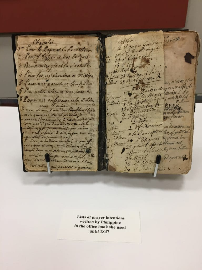 Prayer intentions on blank pages of the office book used by St. Philippine Duchesne (1769-1852)