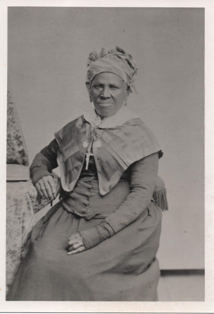 Liza Nebbitt (c. 1810-1889), enslaved girl given to St. Philippine Duchesne in Missouri, brought to St. Michael, LA in 1825, where she spent the rest of her life. She was married several times, raised several children, and returned to spend her last years at the convent serving the sick and needy.