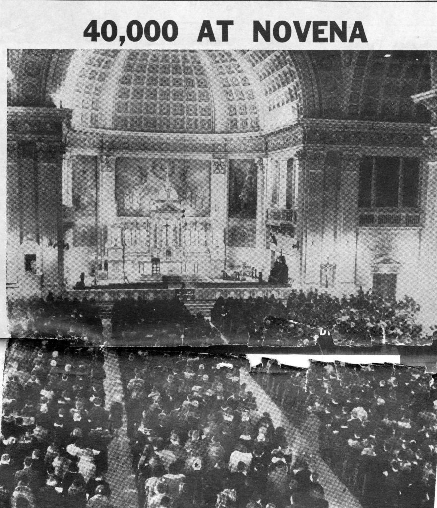 News article printed on one large page from The Chicago Herald and Examiner, March 1938, showing a photograph of the Sorrowful Mother Novena church crowd.