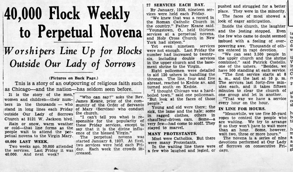 The news article that was below the photograph of the Sorrowful Mother Novena church crowd.