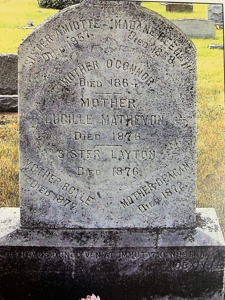 Common grave of the seven Religious of the Sacred Heart who died at the St Marys, Kansas, Potawatomi mission between 1838 and 1876. The original mission in 1841 at the Jesuit foundation in Sugar Creek, Kansas, was moved west to St Marys in 1848 and lasted until 1879.