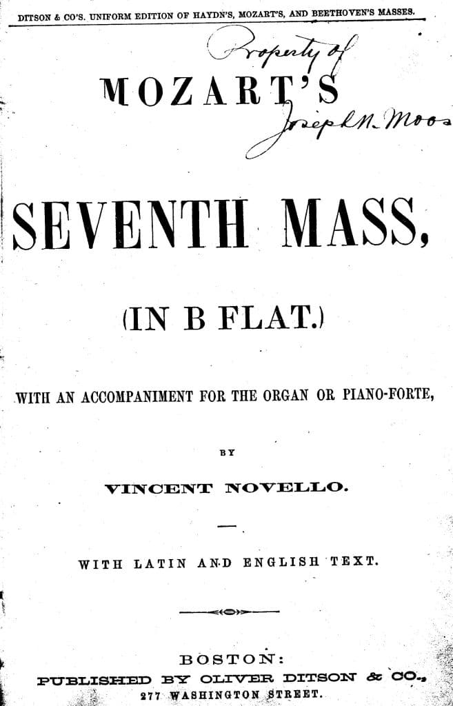 Oldest music in the Collection, 1864.