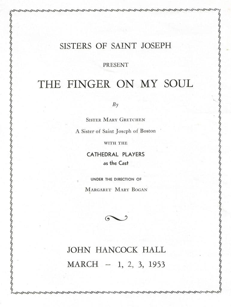 Program cover for the play The Finger on My Soul