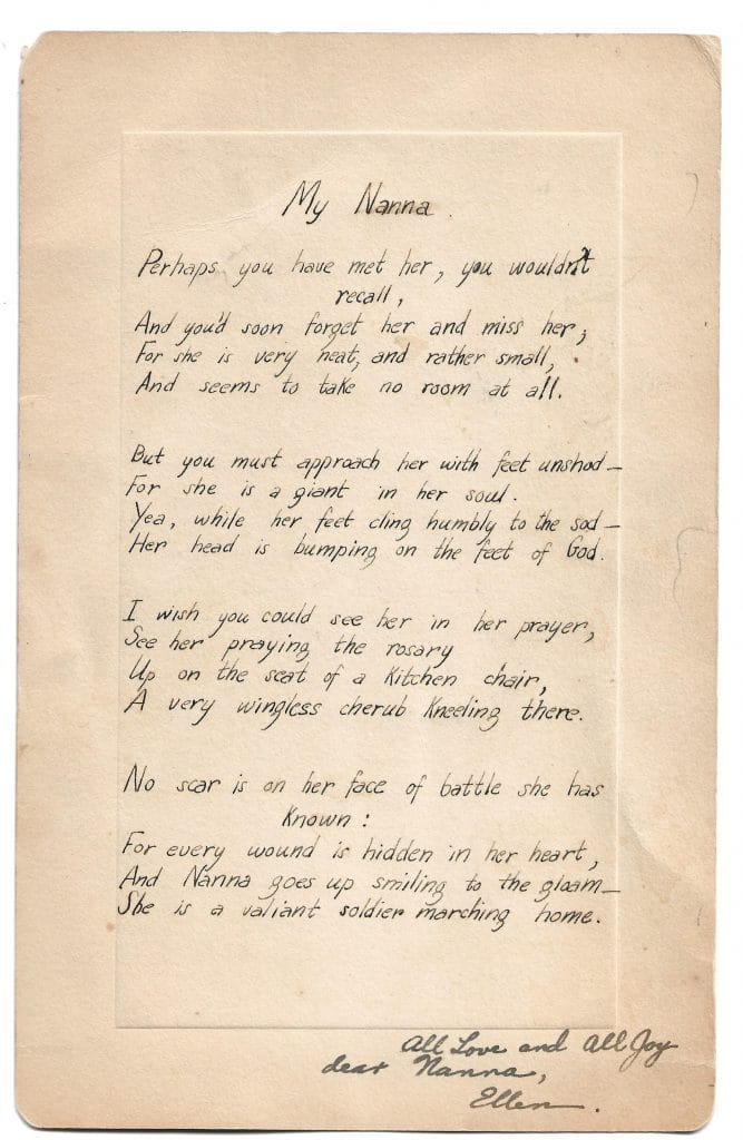 """My Nanna"", a handwritten example of Bogan's poetry"
