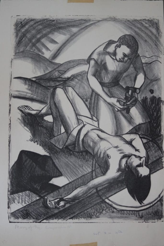 He is nailed to the cross,