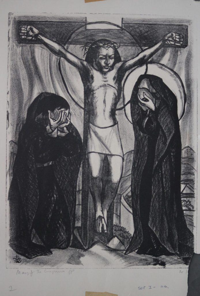He dies on the cross,