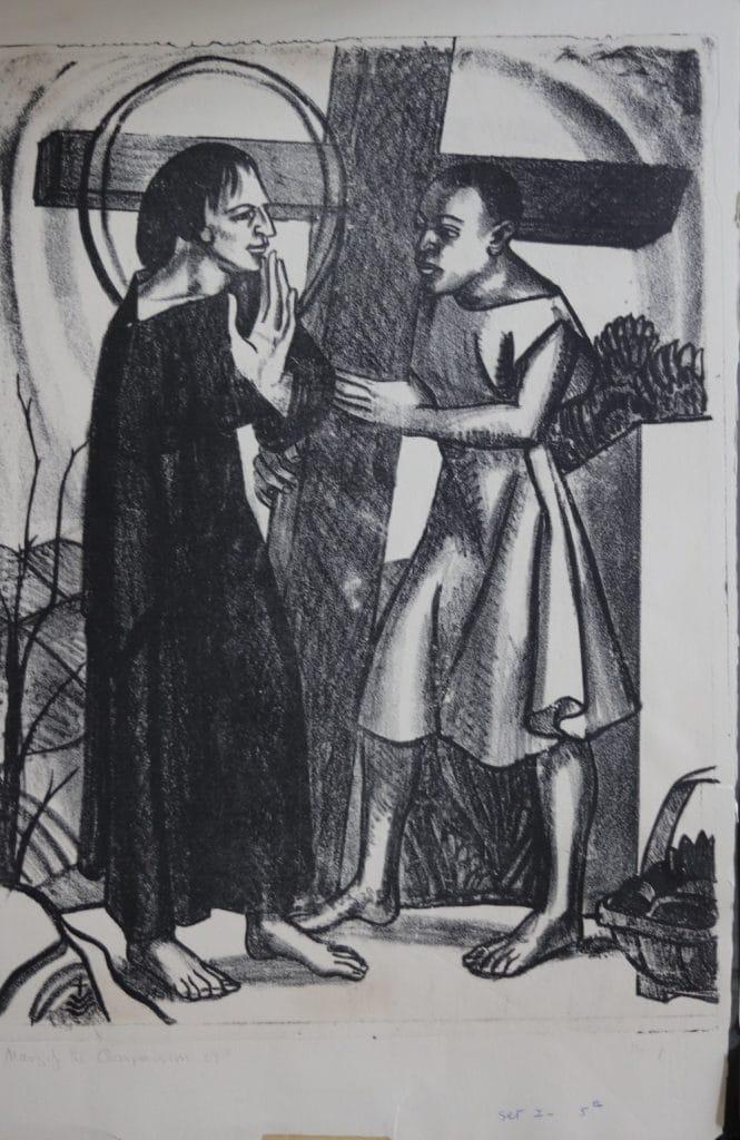 Simon of Cyrene is made to bear the cross,