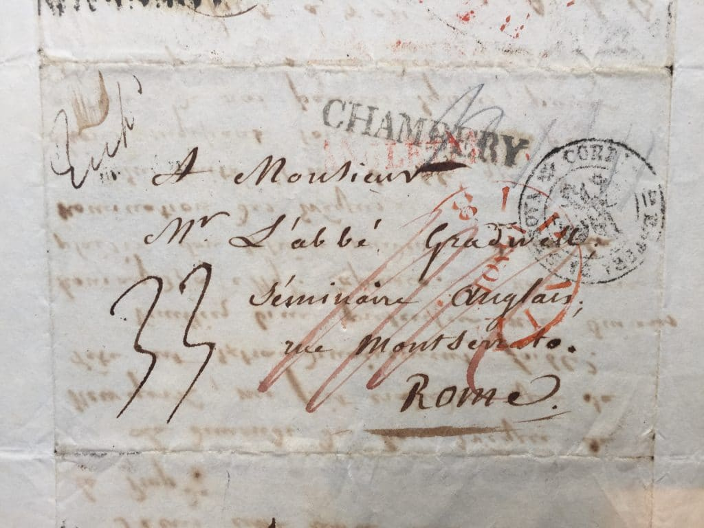 Cover of a letter from Archbishop Maréchal to Dr Robert Gradwell 17 October 1824.