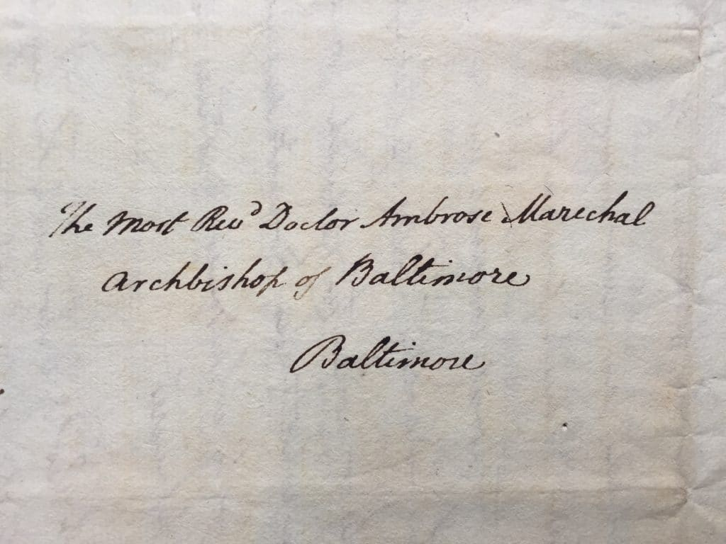 Cover of a letter of Daniel Carroll Brent, 1st Clerk of the United States Department of State, to Archbishop Ambrose Maréchal, dated Washington, 20 October 1824