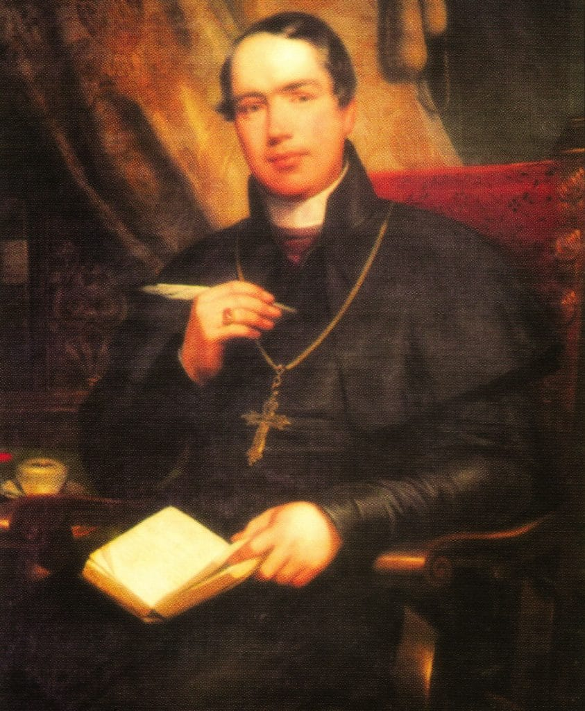 Dr. Nicholas Wiseman, a Cardinal of the Catholic Church who became the first Archbishop of Westminster upon the re-establishment of the Catholic hierarchy in England and Wales in 1850.
