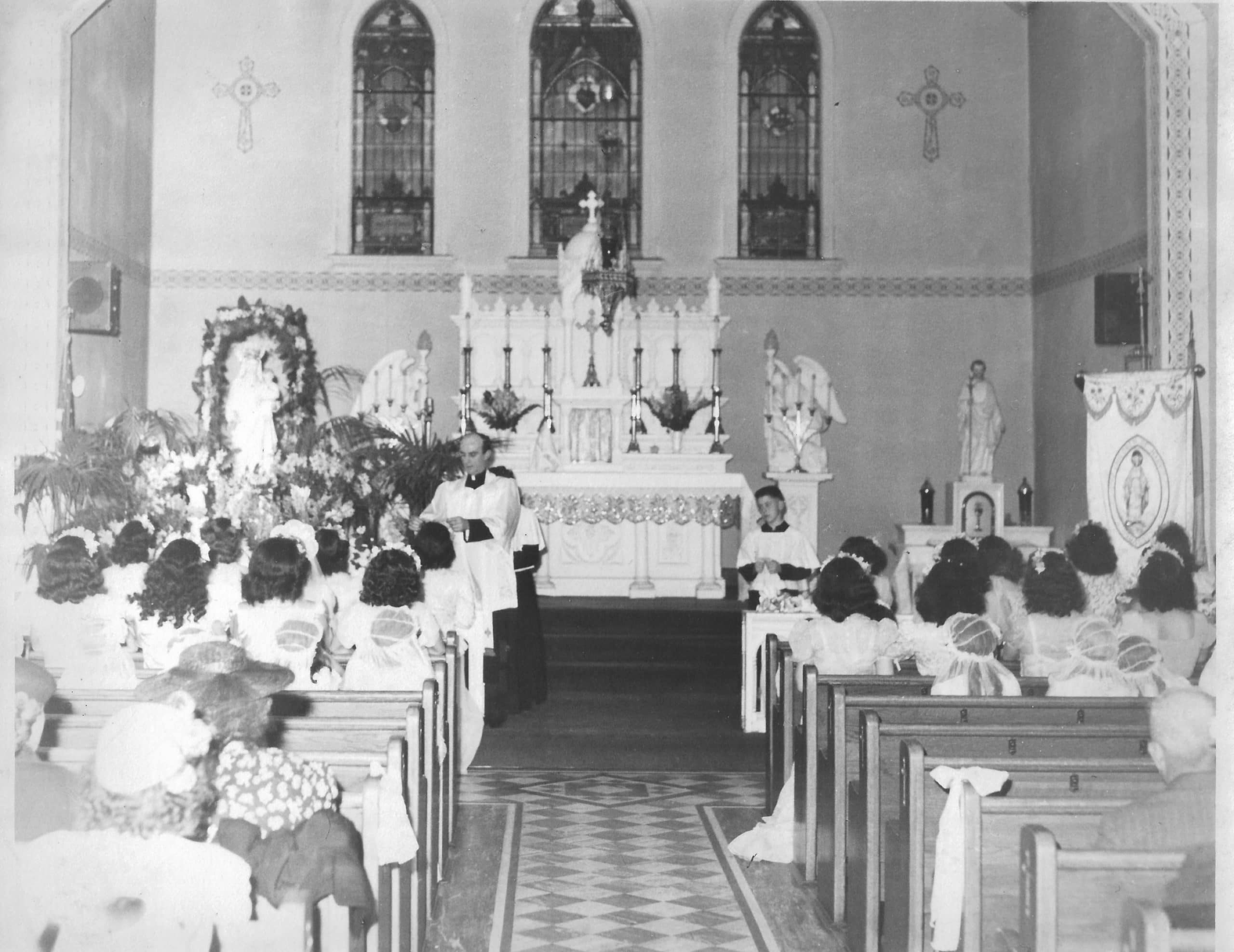 May Crowning 1947, original Church building, with Father Harding